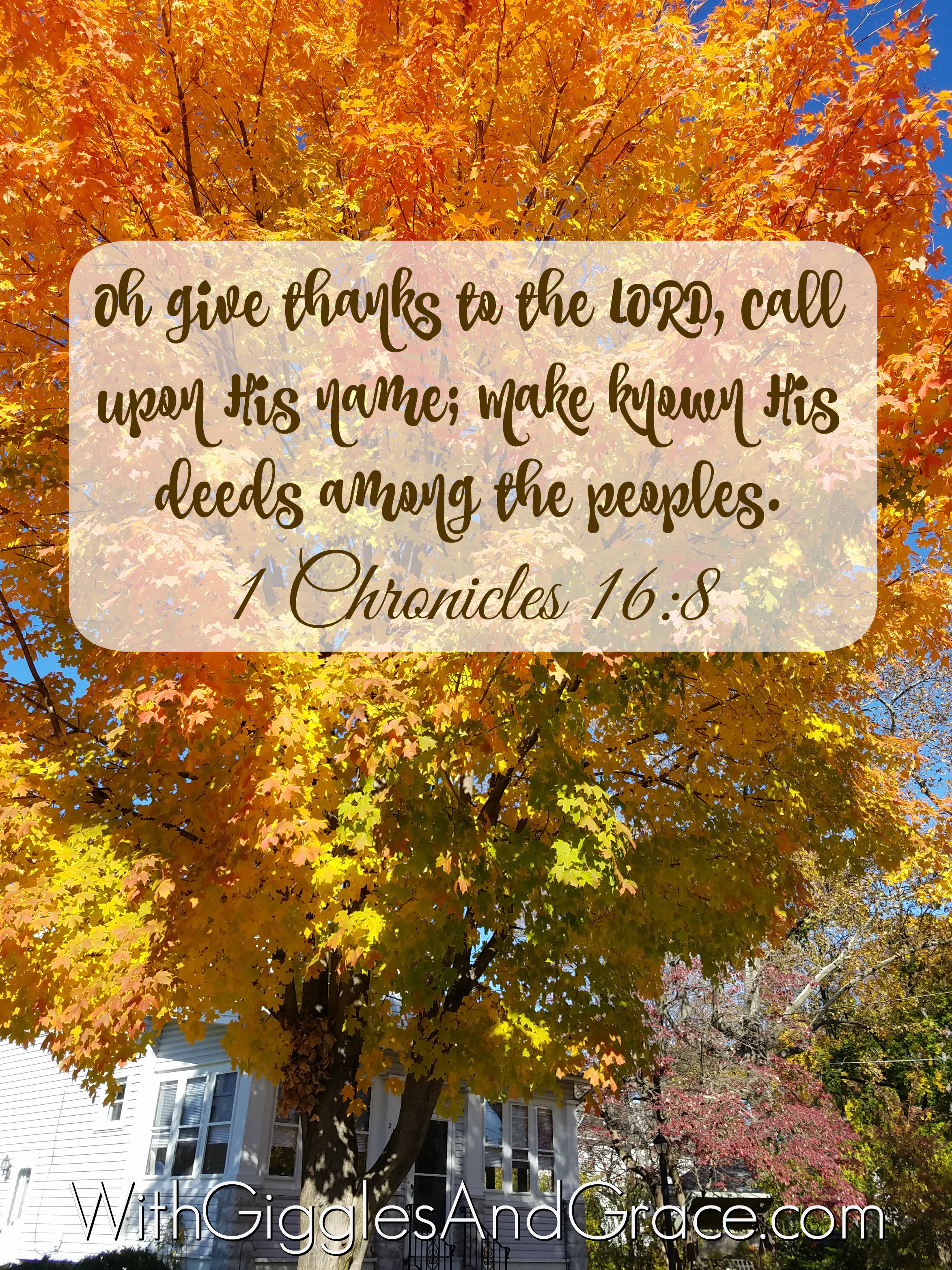 1 Chronicles 16:8 – Oh give thanks to the LORD, call upon His name; Make known His deeds among the peoples.